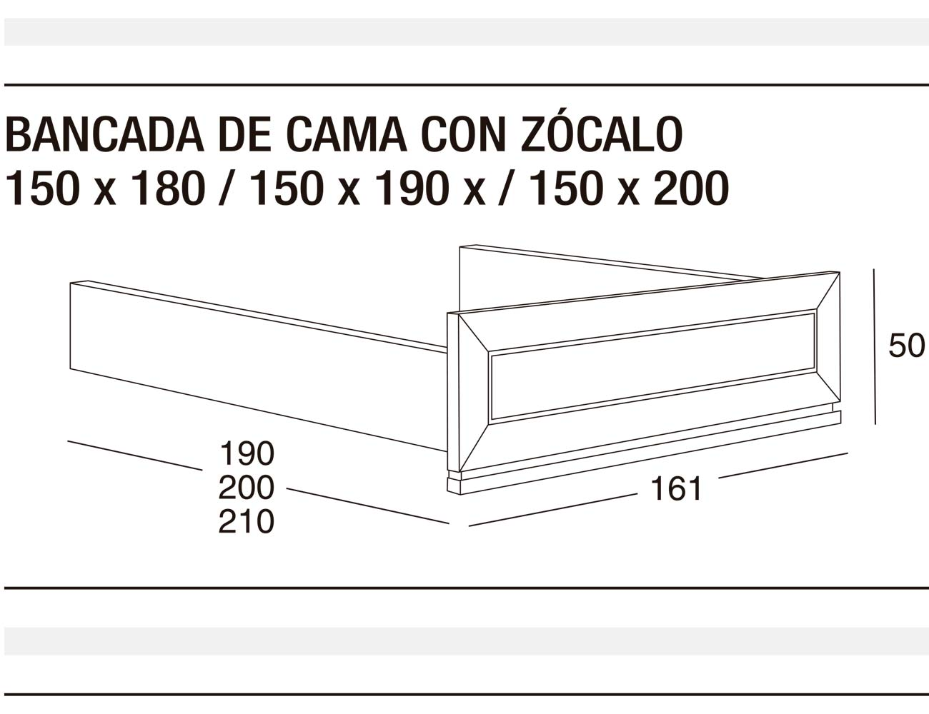 Bancada cama z 150x180 150x190 150x2001