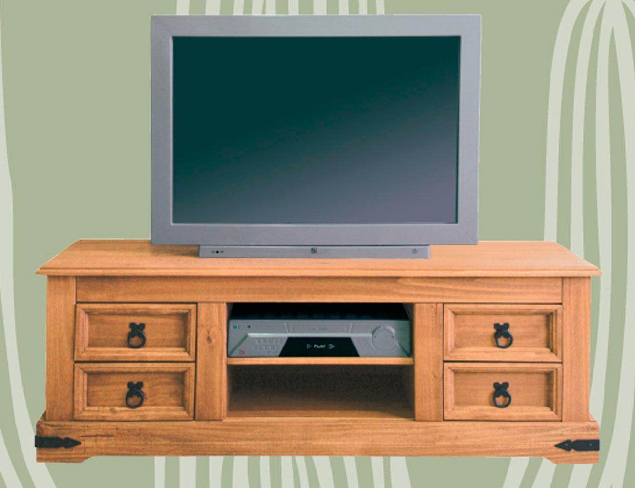 Bajo tv 4 cajones madera