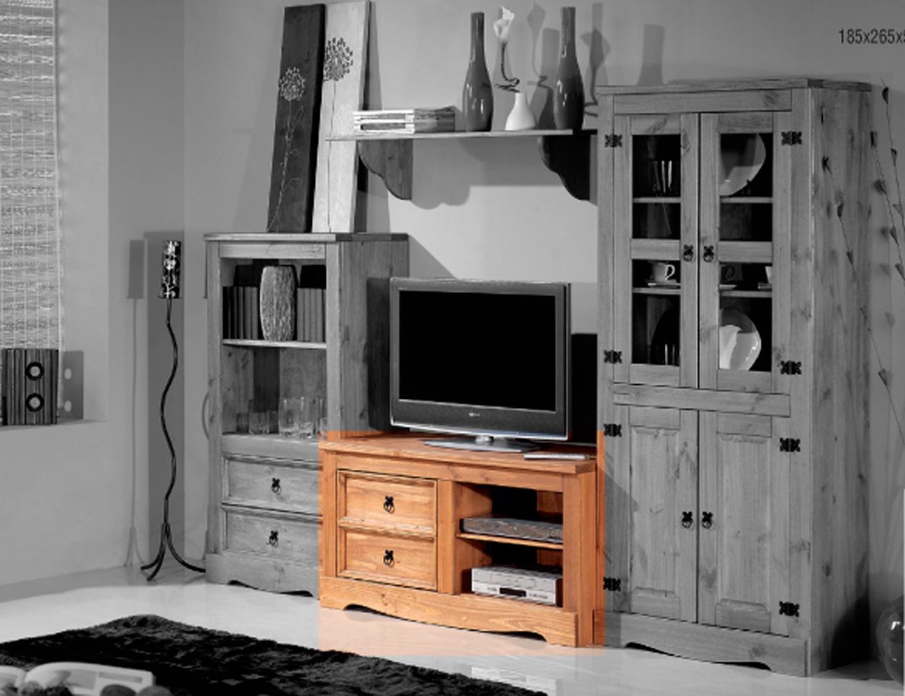 Bajo tv 2 cajones 2 huecos madera