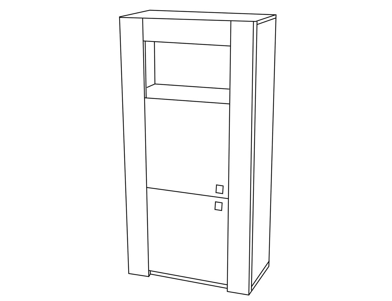 Bodeguero 1 p madera+hueco 72x37x145