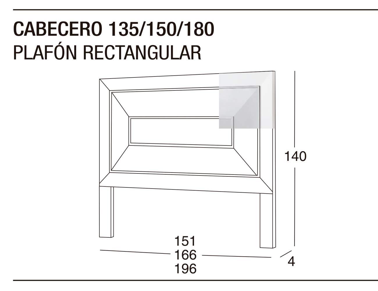 Cabecero 135 150 plafon rectangular 166x140x41