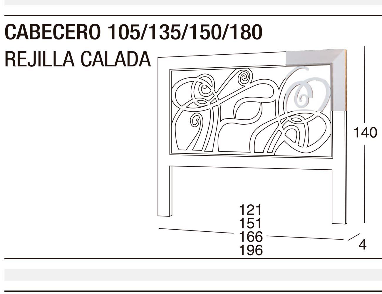 Cabecero 135 150 rejilla calada