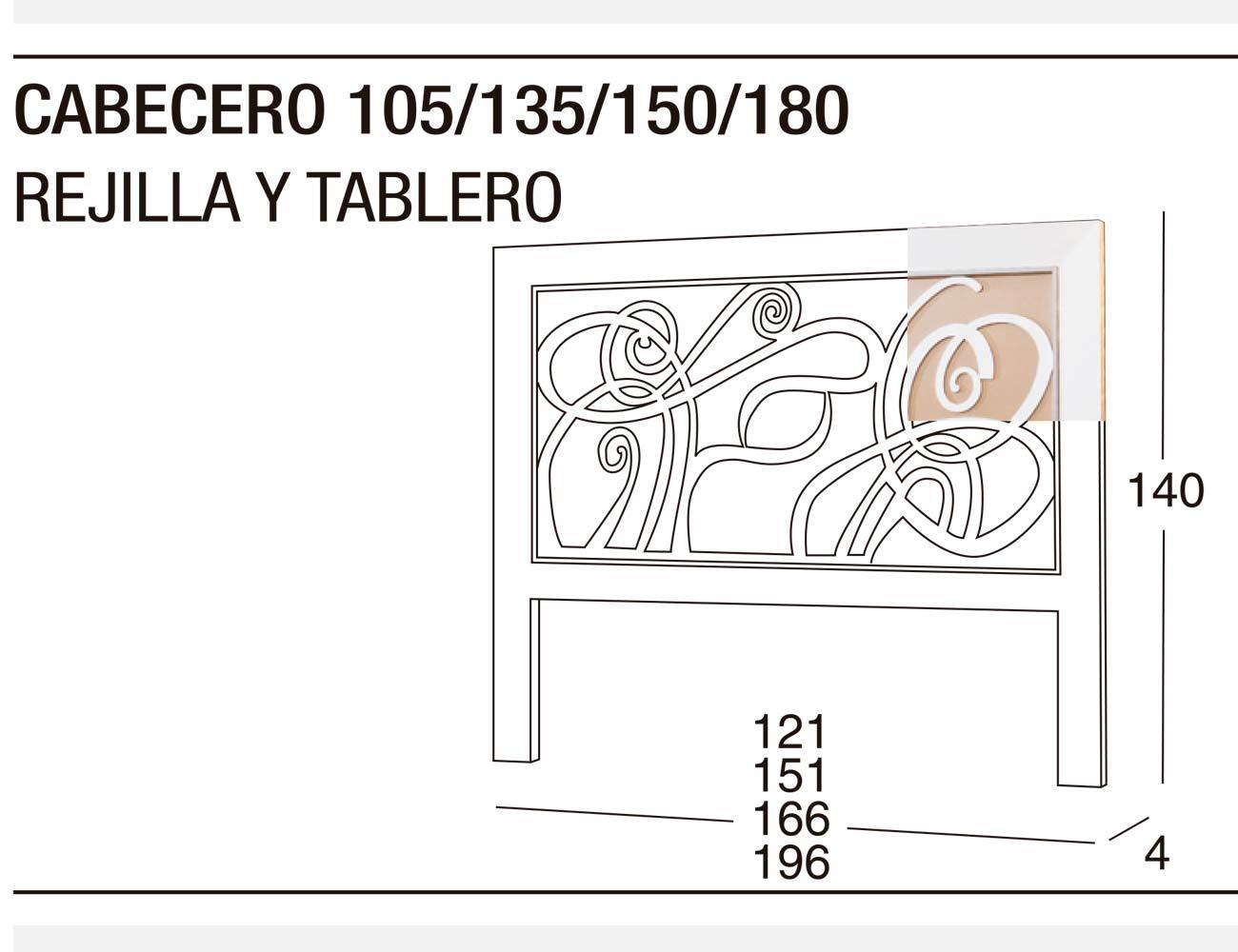 Cabecero 135 150 rejilla tablero
