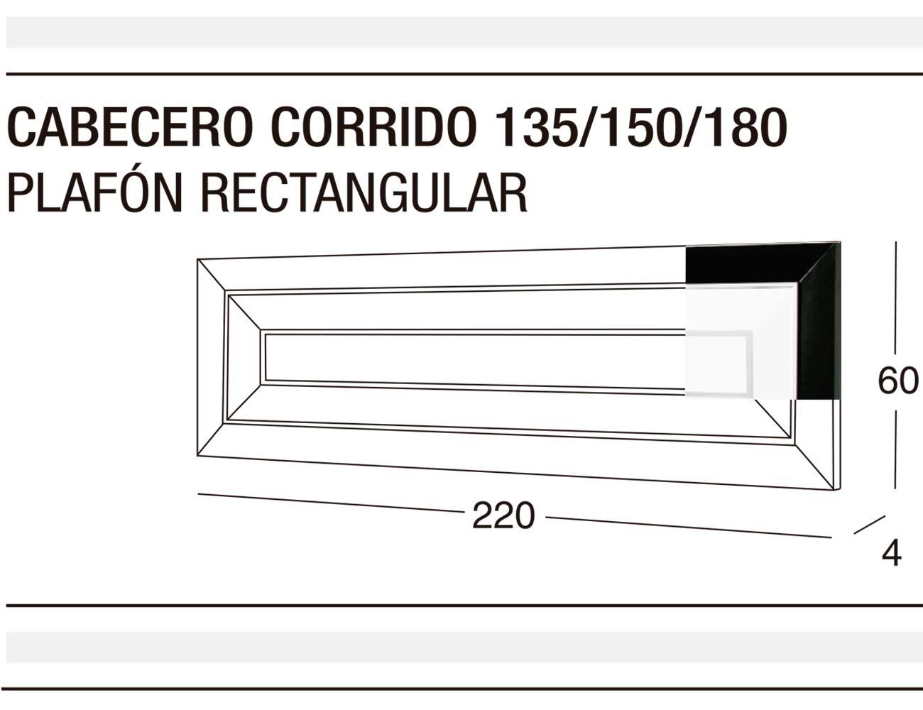 Cabecero corrido 135 150 plafon rectangular