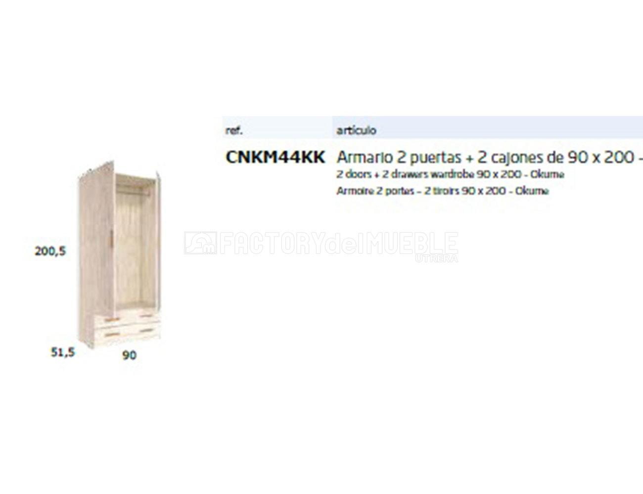 Cnkm44kk armario2 puertas+2 cajones