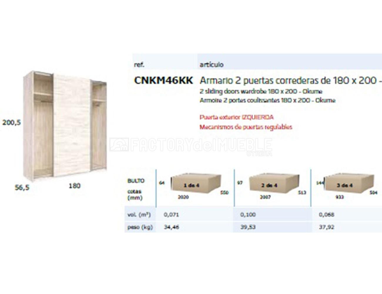 Cnkm46kk armario2 puertas correderas 180x200