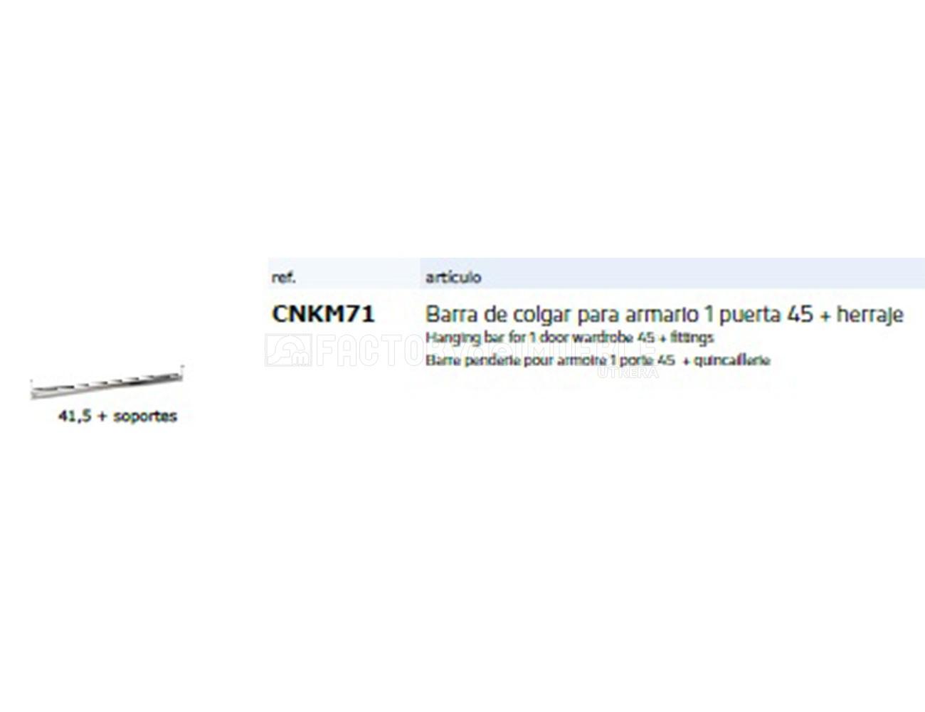 Cnkm71 barra colgar armario1p 45+ herraje