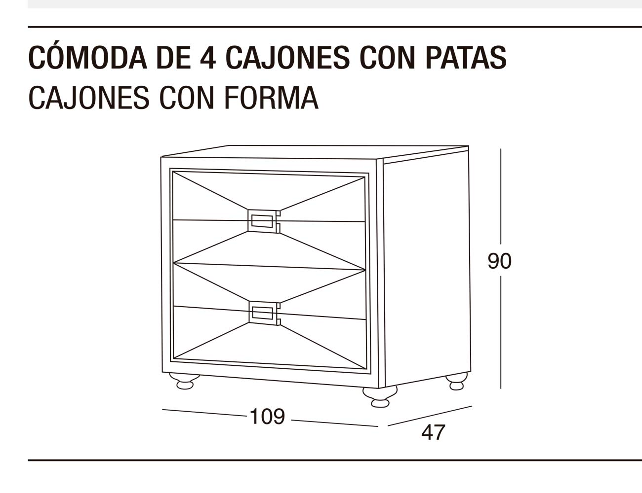 Comoda 4c p forma 109x90x47