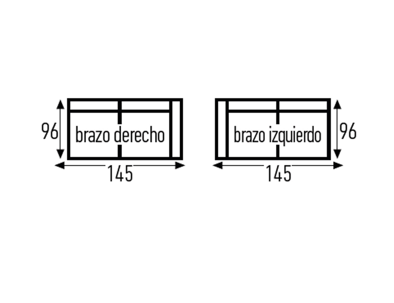 Croquis sofa sin 1 brazo 1451