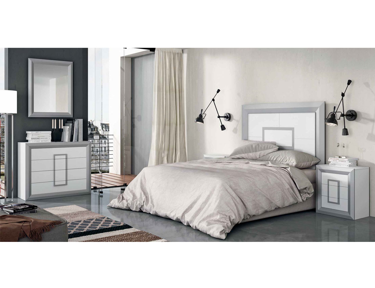 Dormitorio matrimonio cabecero plafon blanco plata
