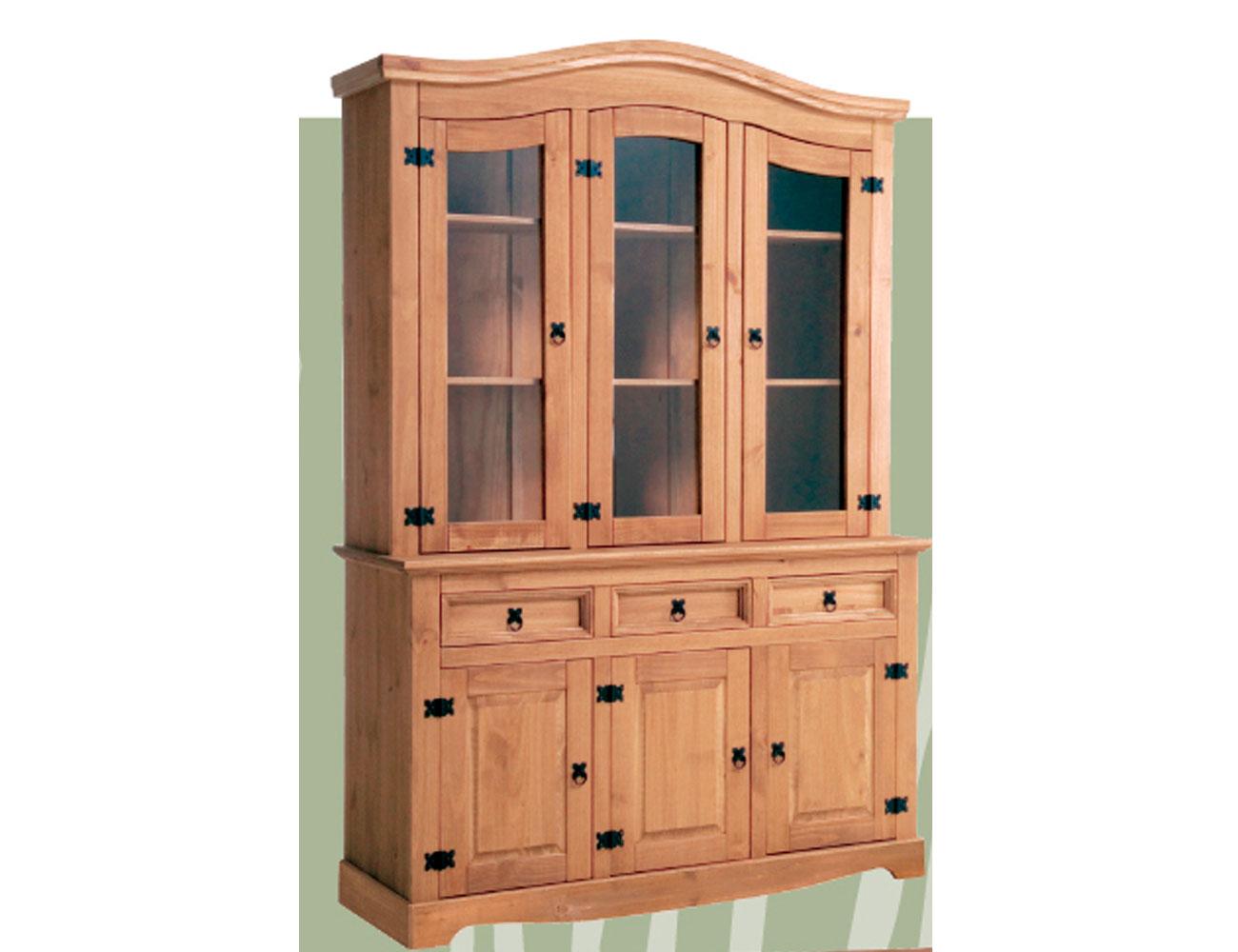 Librero expositor aparador vitrina 3 puertas madera