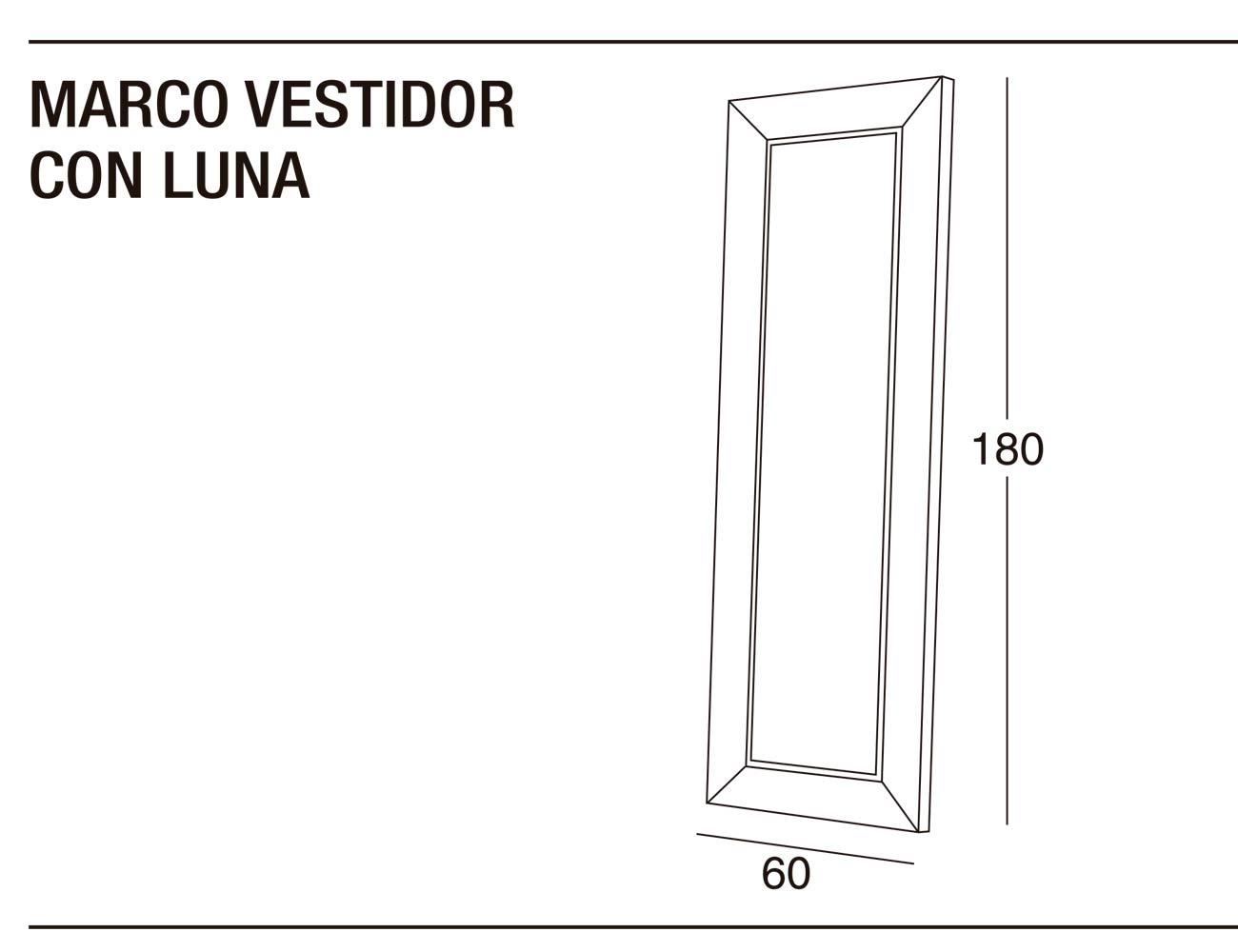 Marco vestidor luna 60x180