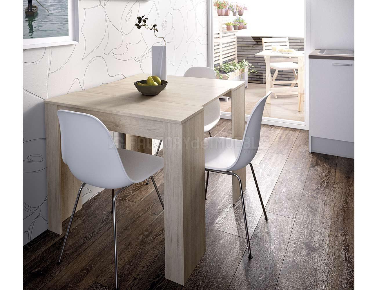 Mesa de comedor extensible y convertible en color natural