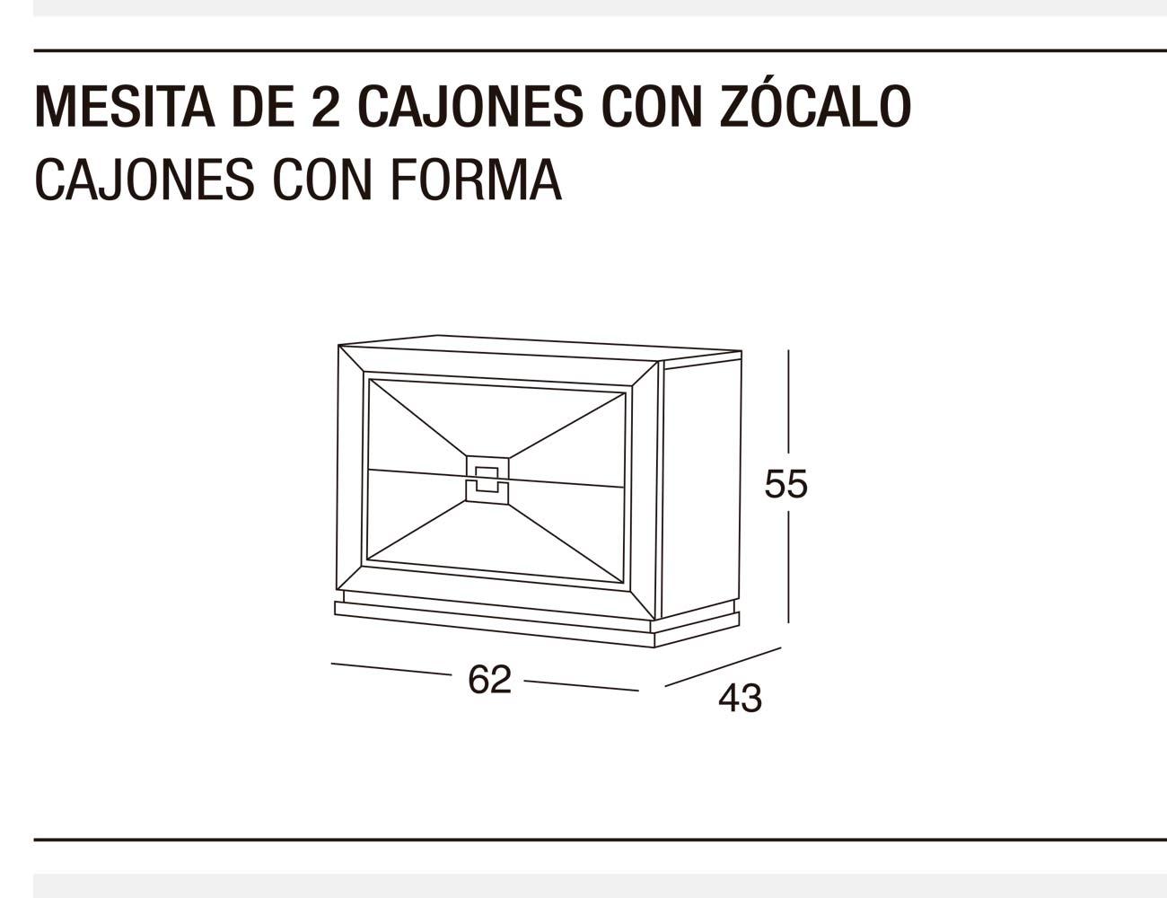 Mesita 2c z forma 62x55x43
