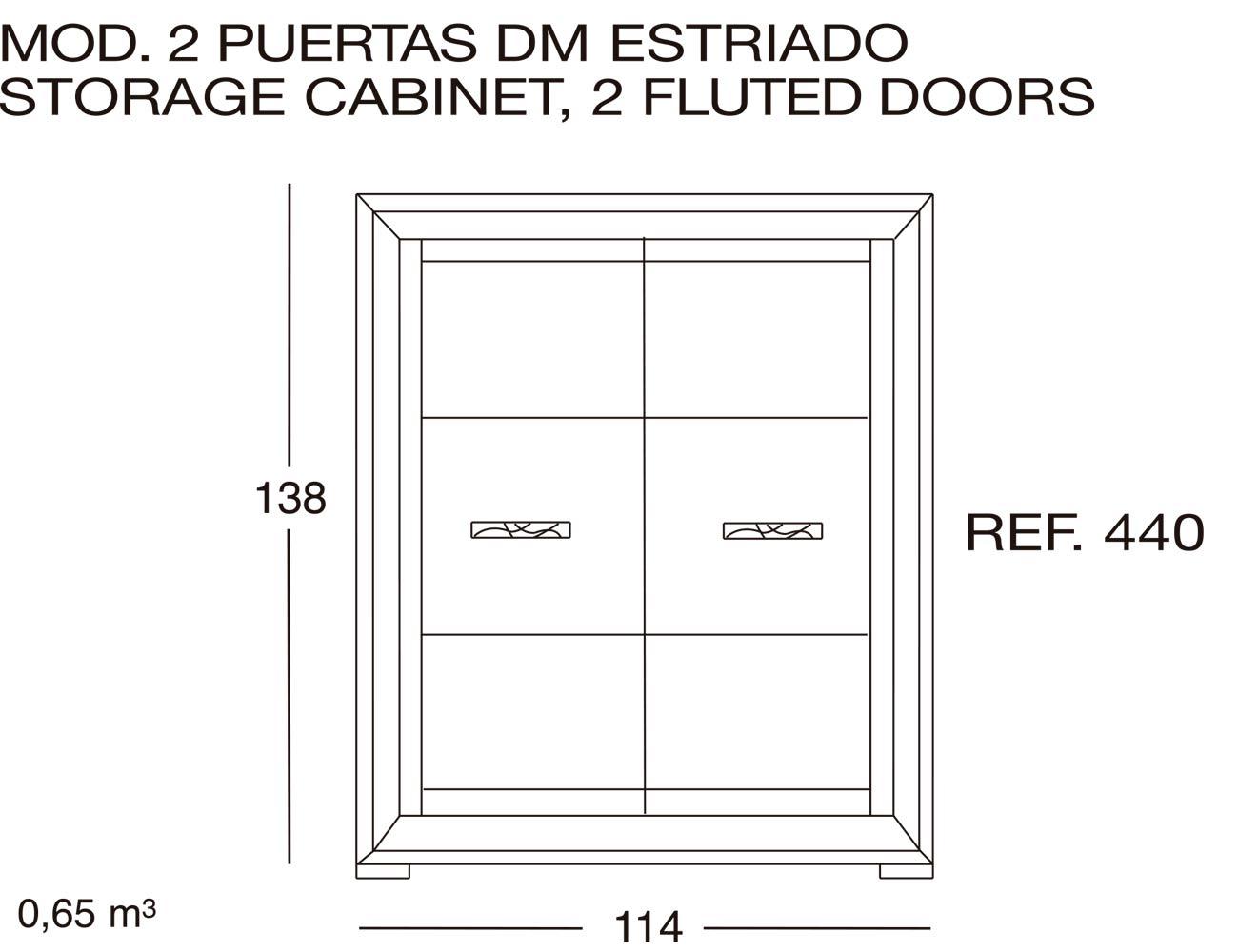 Modulo 2 puertas dm estriado 440