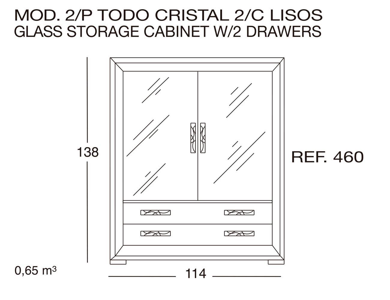 Modulo 2 puertas todo cristal 2c lisos 460