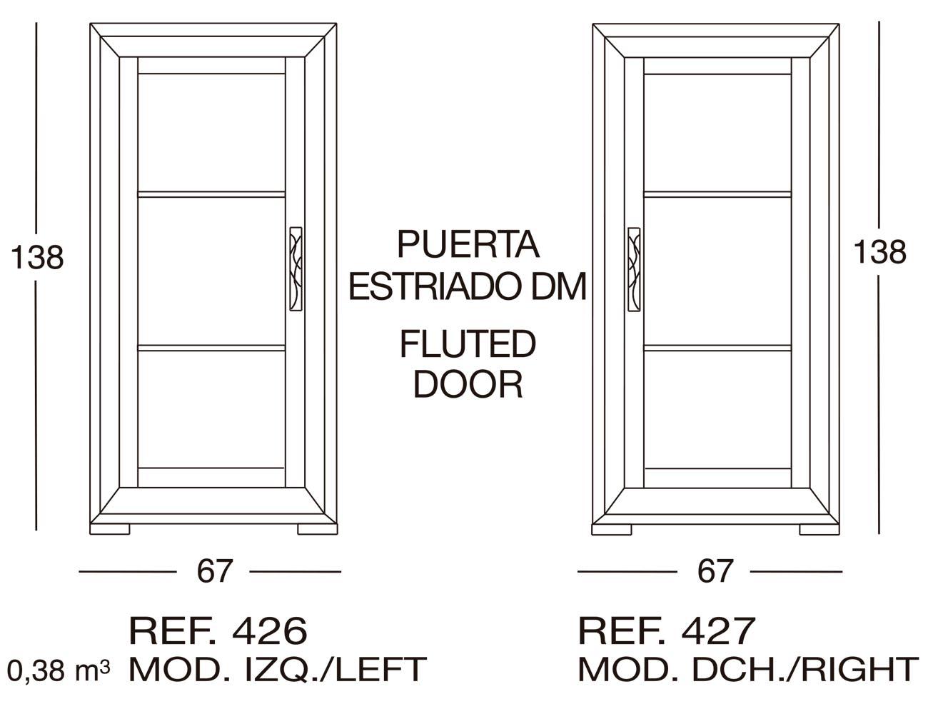 Modulo dcho puerta estriado dm 427