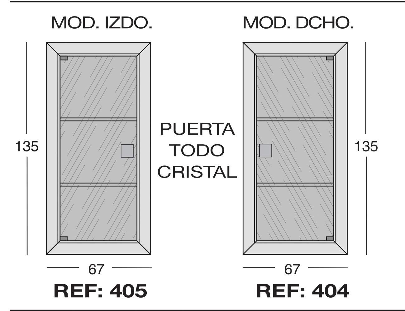 Modulo izdo 405 dcho 404puerta todo cristal