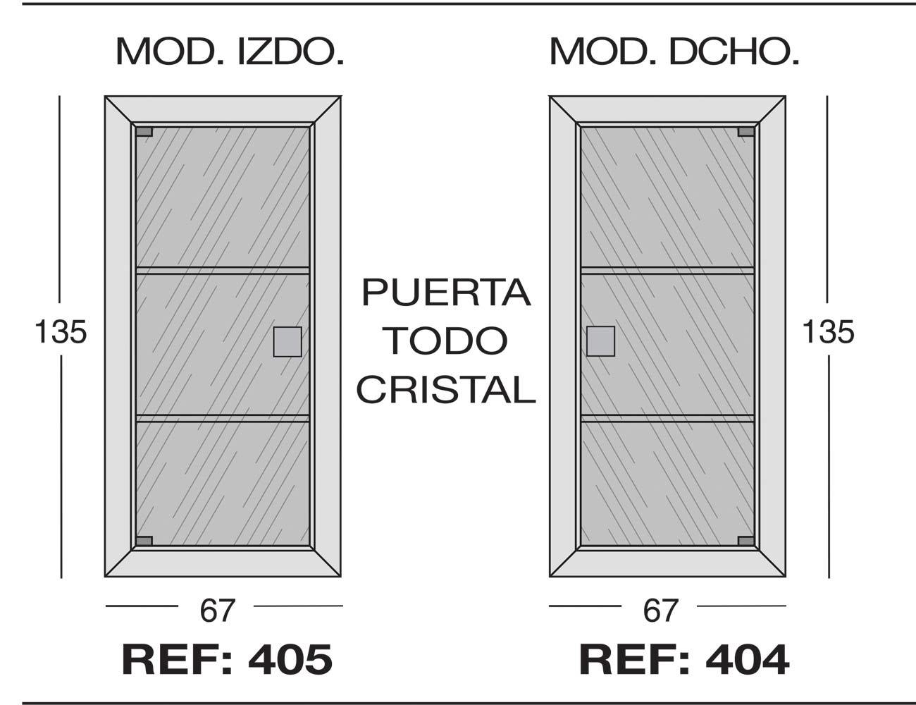 Modulo izdo 405 dcho 404puerta todo cristal 1