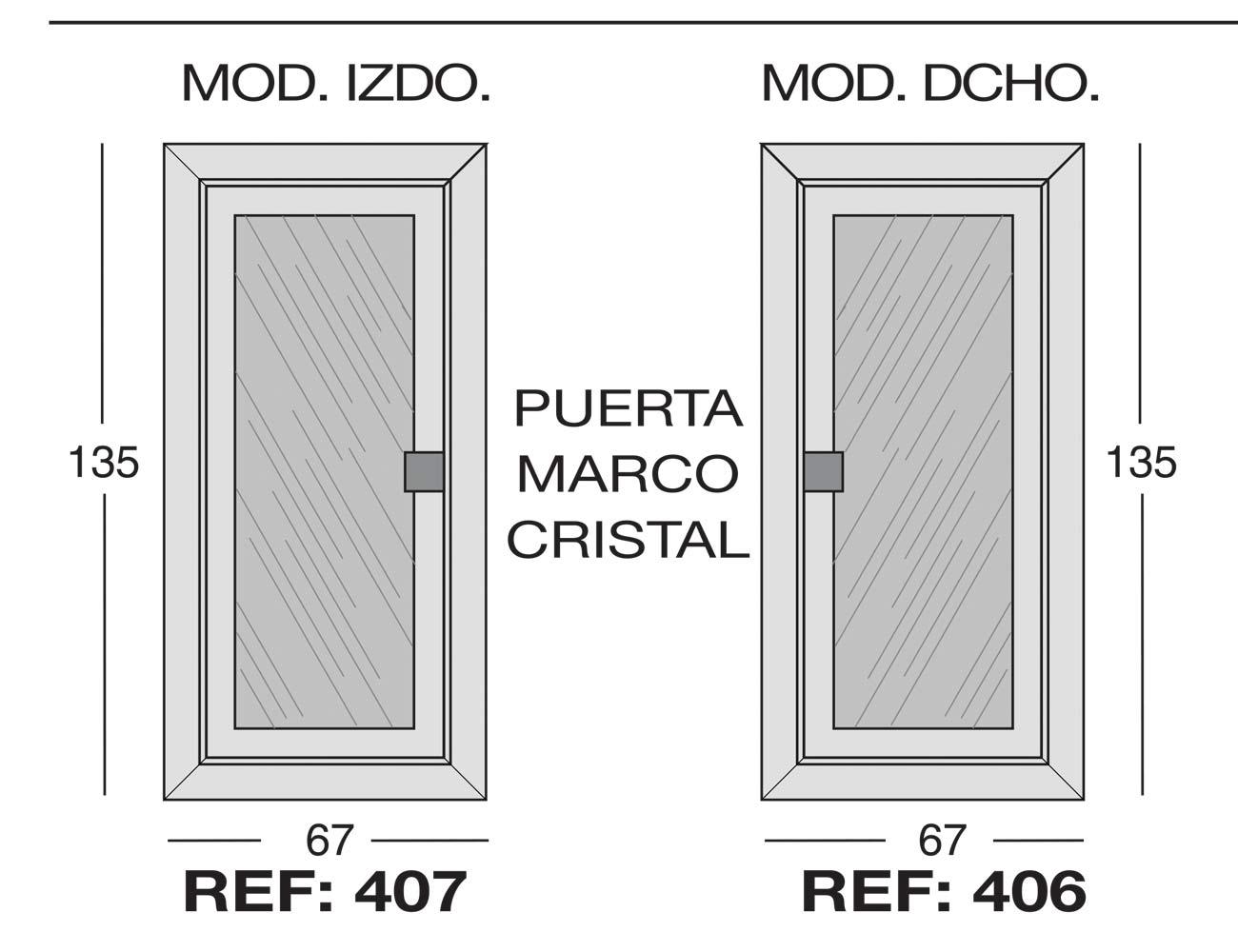 Modulo izdo 407 dcho 406puerta marco cristal