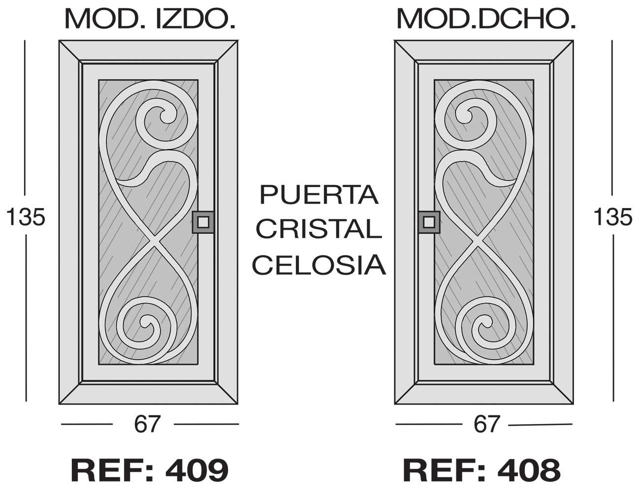 Modulo izdo 409 dcho 408 puerta cristal celosia1