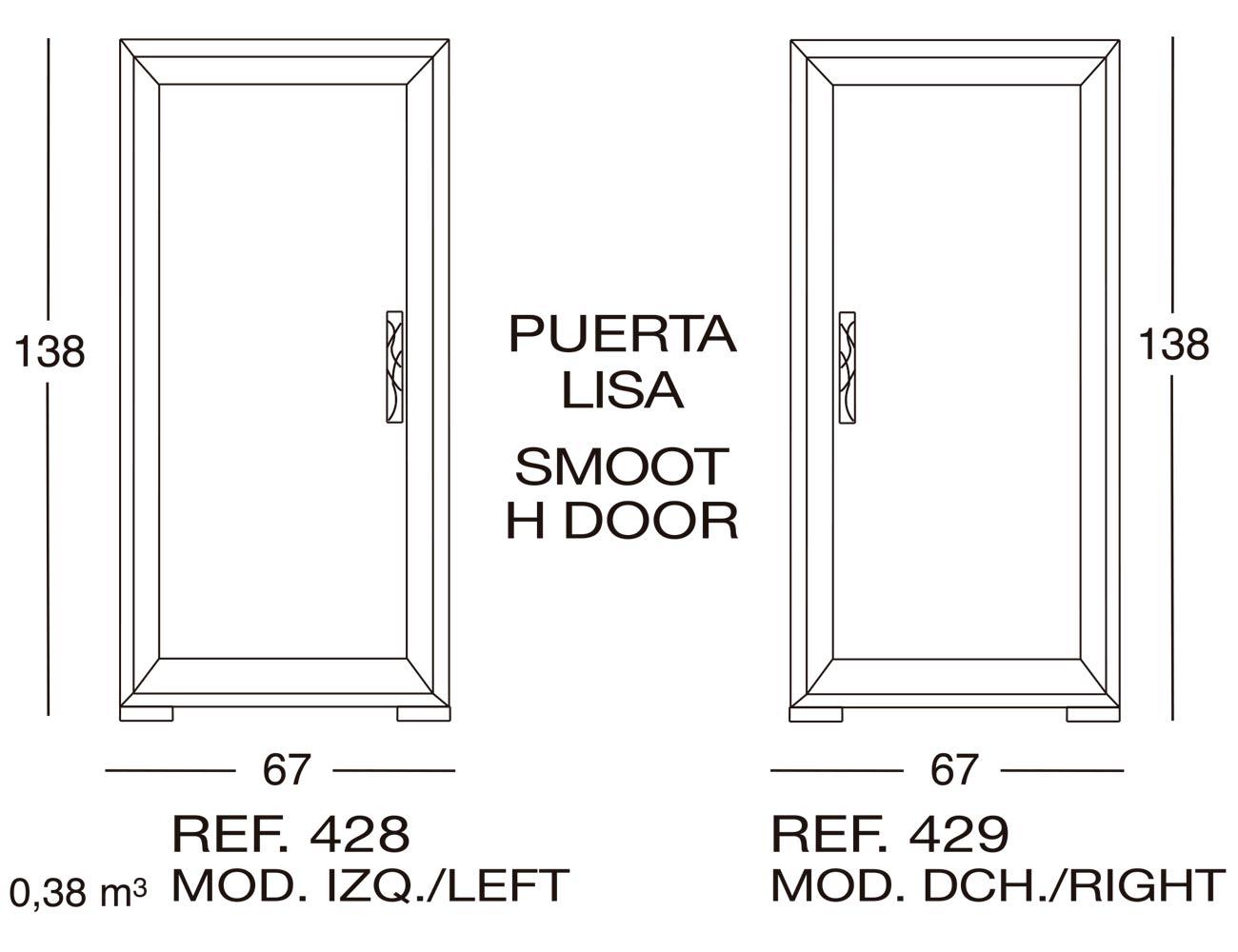 Modulo izdo puerta estriado dm 428