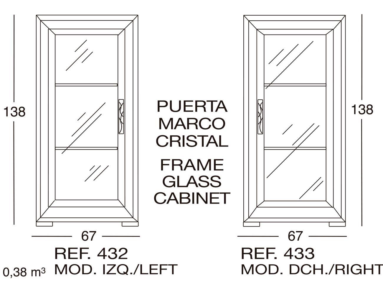 Modulo izdo puerta marco cristal 432
