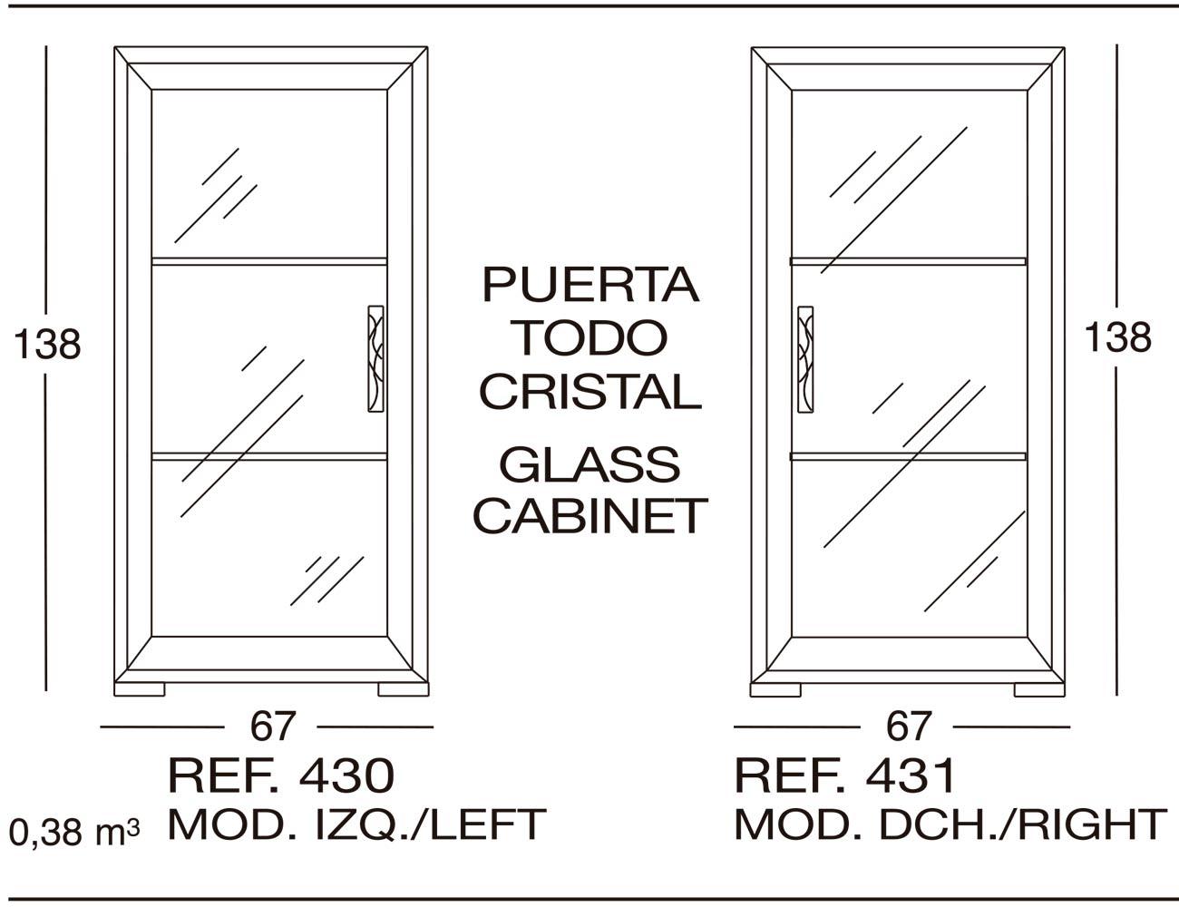 Modulo izdo puerta todo cristal 430