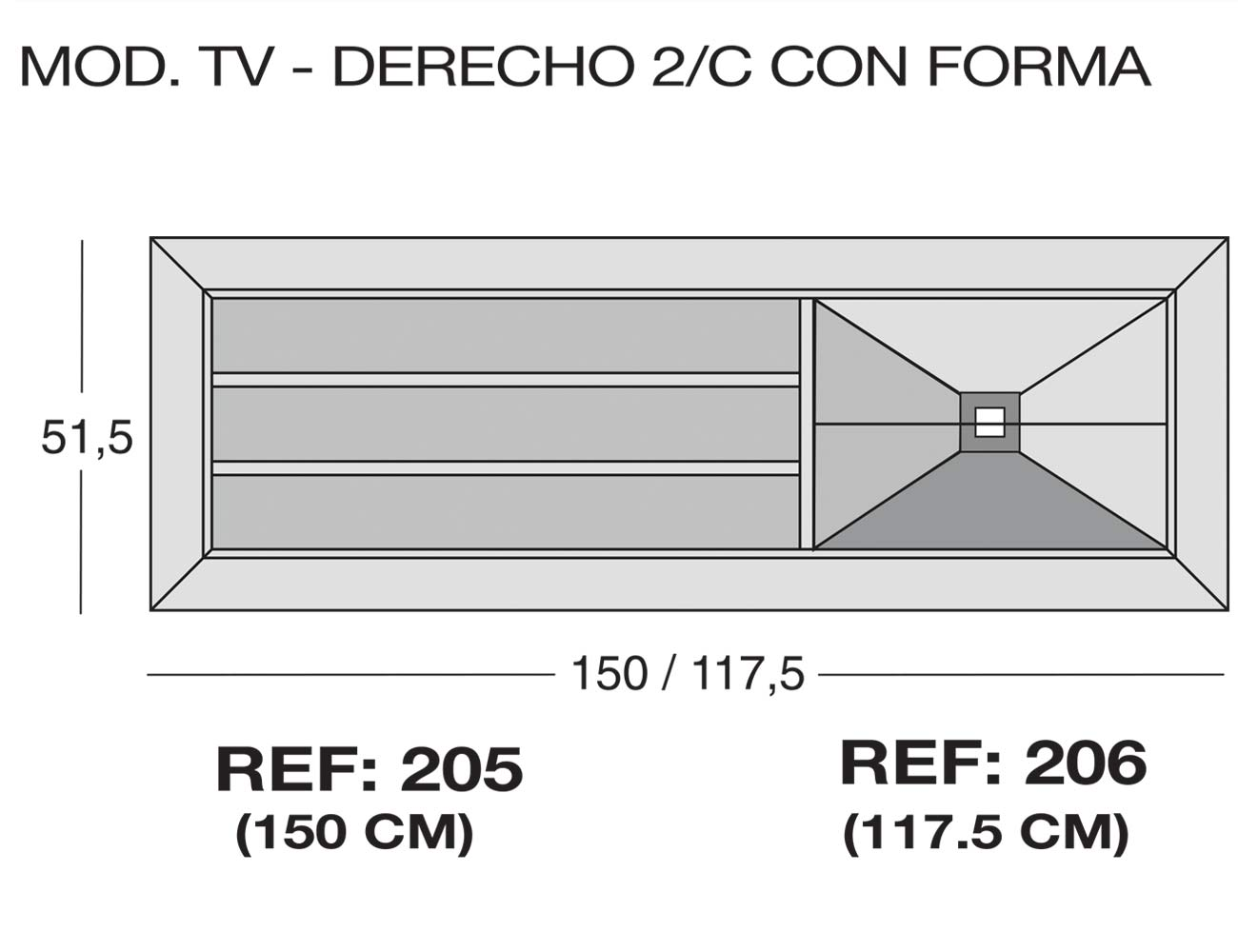 Modulo tv derecho 2 c forma 205 2061