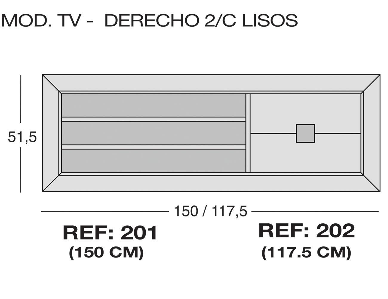 Modulo tv derecho 2c lisos 201 202