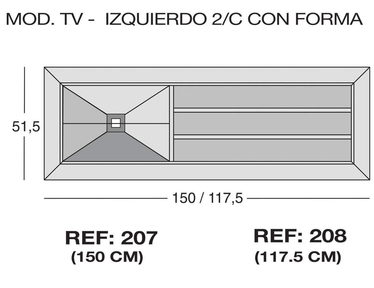 Modulo tv izquierdo 2c forma 207 208
