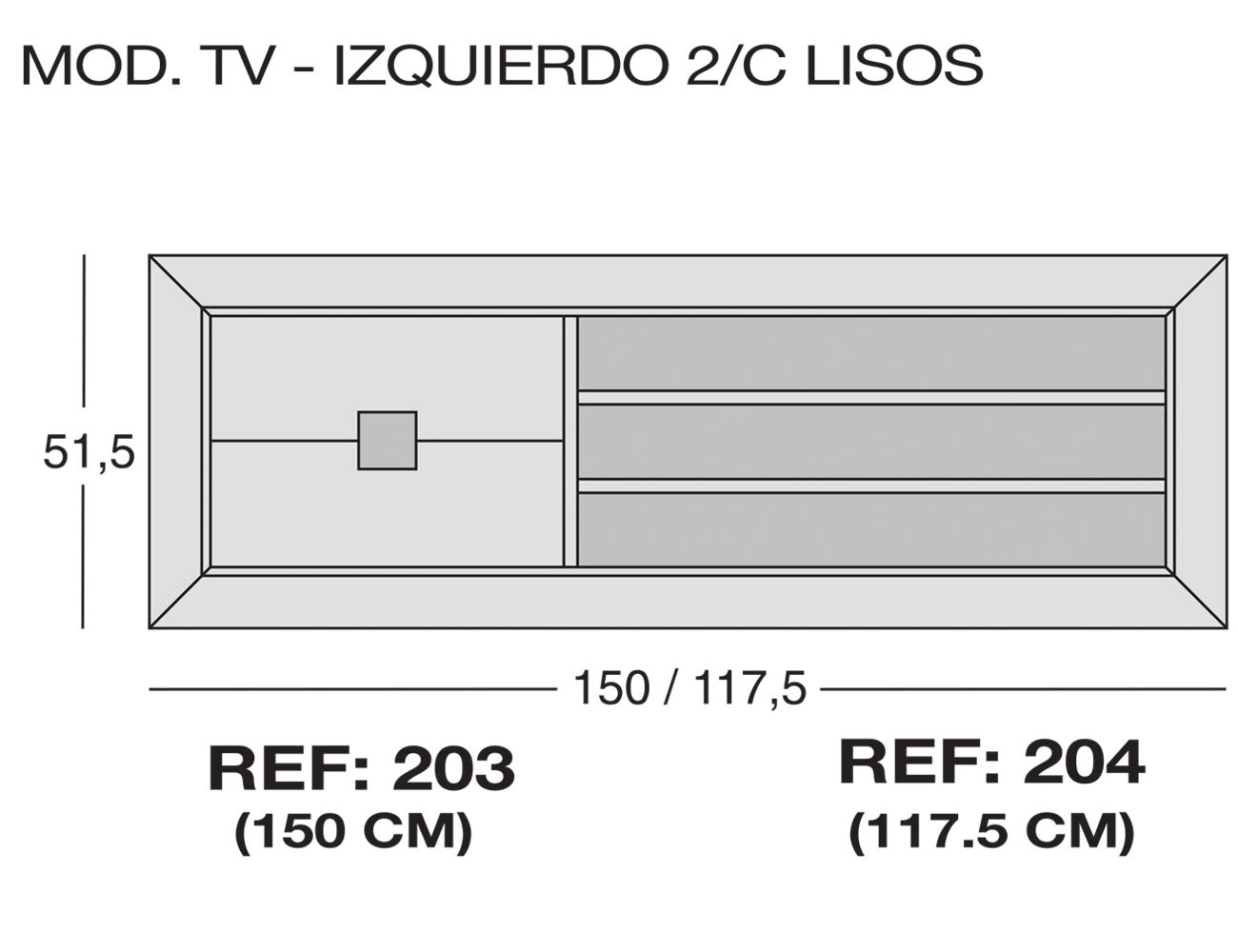 Modulo tv izquierdo 2c lisos 203 2041