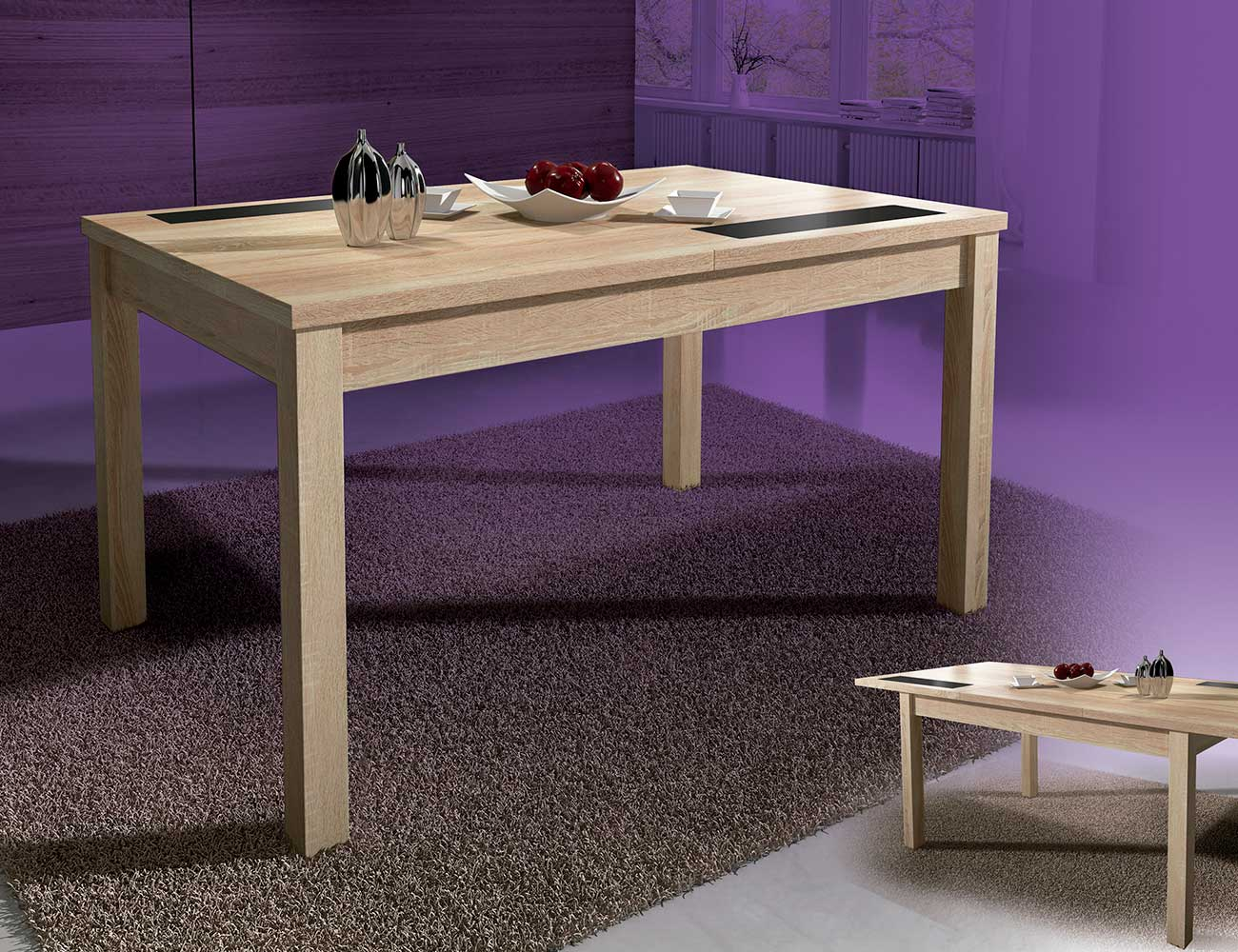 Mesa comedor extensible con cristables color cambrian for Caracteristicas de un comedor