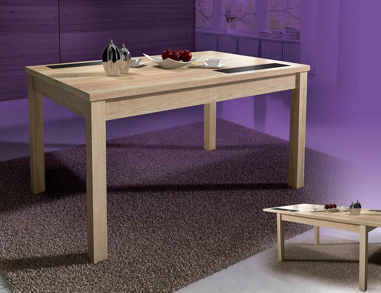 Mesa comedor extensible con cristables color cambrian for Mesas extensibles madera para comedor