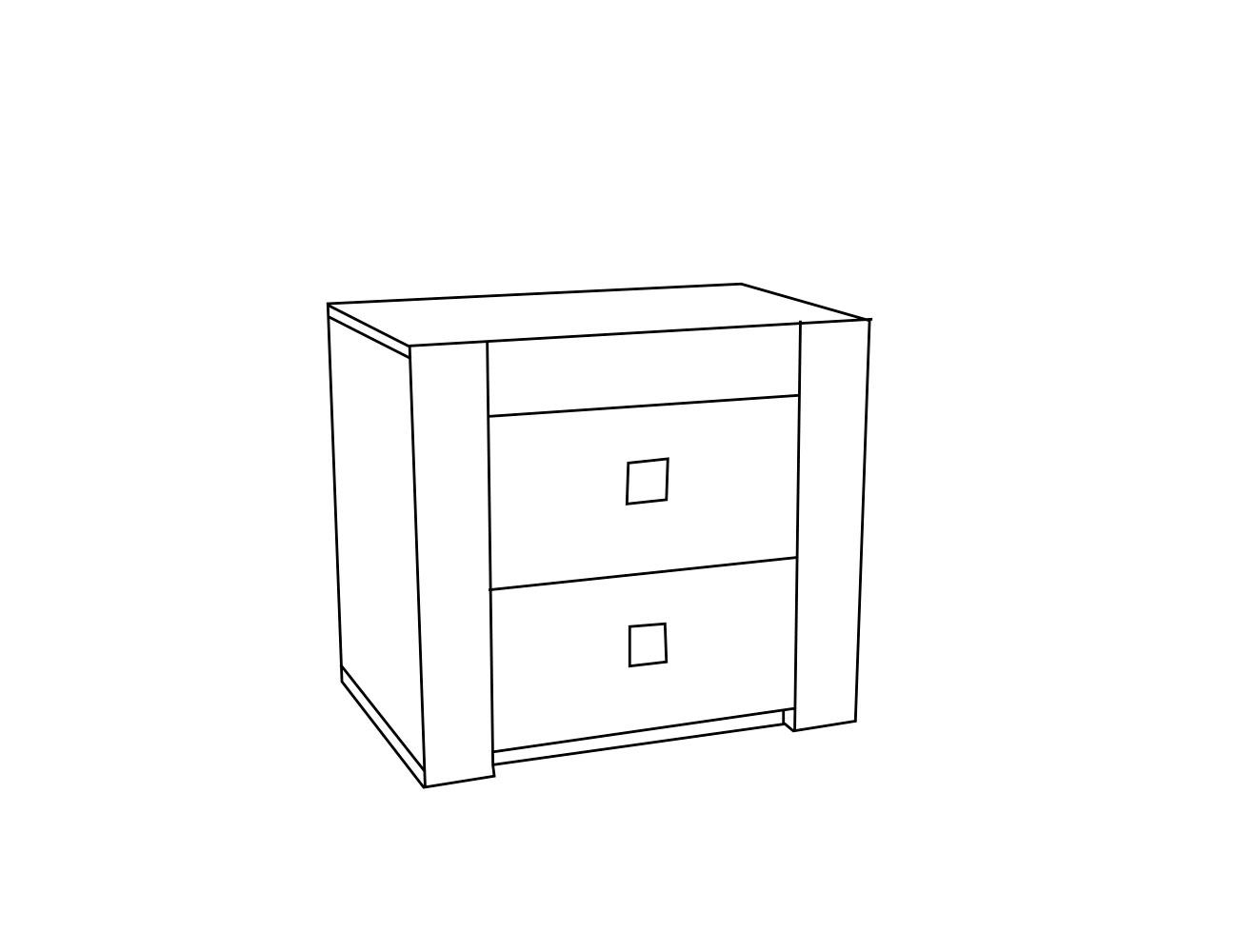 Mesita 2 cajones 59x37x53 cm