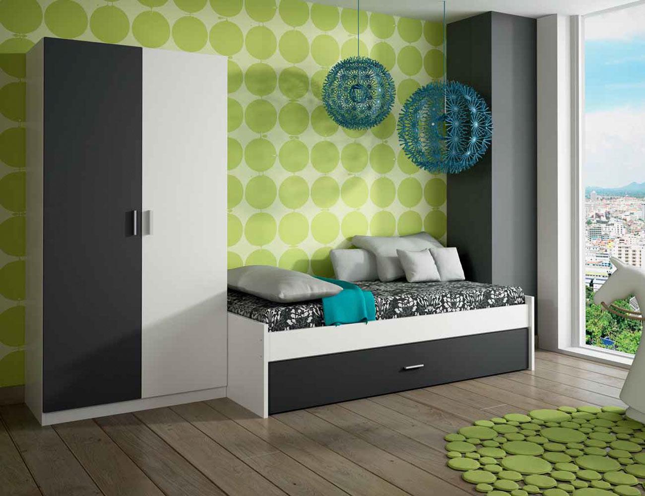 Dormitorio juvenil con cama nido en color blanco con for Dormitorio juvenil cama nido