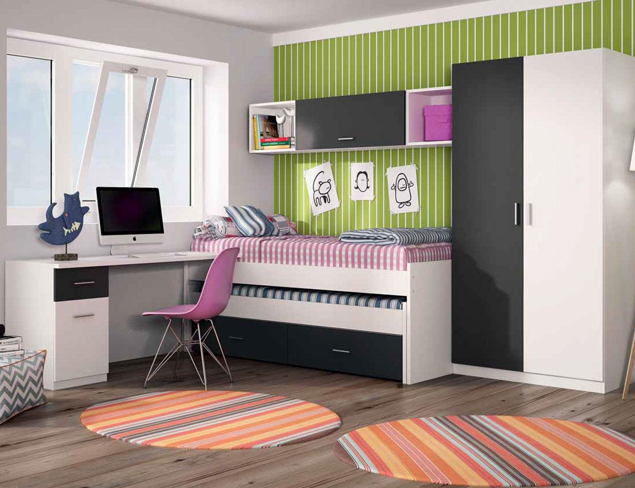 Dormitorio juvenil con cama nido con ruedas en color for Cama nido dormitorio juvenil