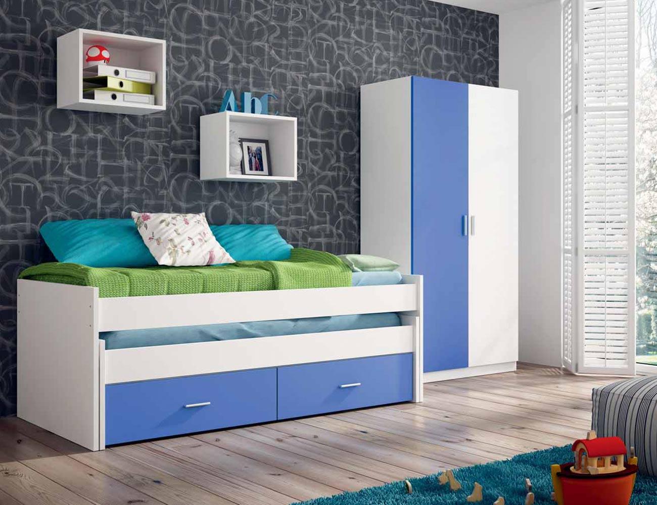 Dormitorio juvenil con cama nido con ruedas en color for Dormitorio juvenil cama nido