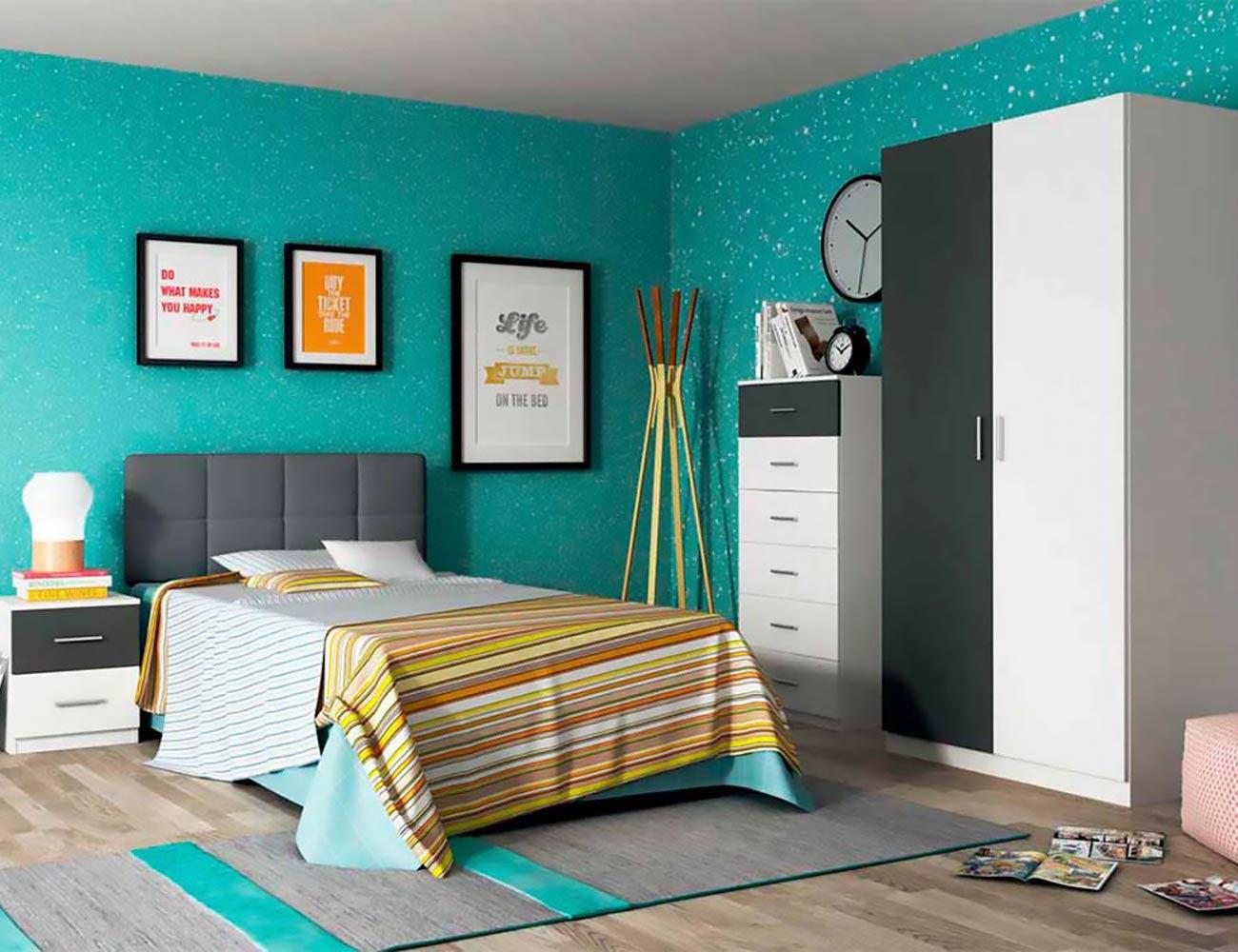 Dormitorio juvenil con cabecero tapizado en polipiel - Dormitorios con cabeceros tapizados ...
