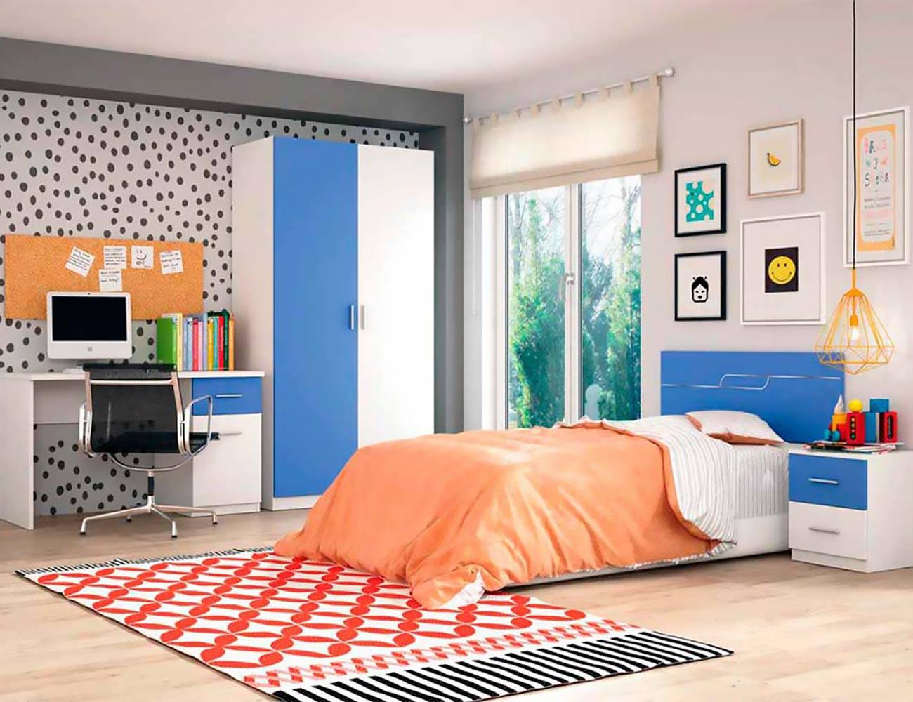 Dormitorio juvenil con armario en color blanco con azul for Armario juvenil blanco