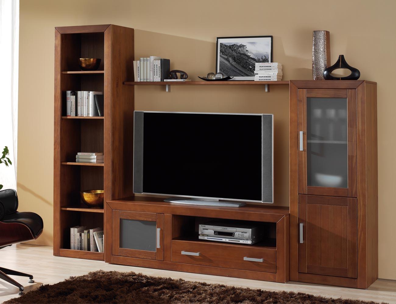 Ambiente12 mueble salon comedor bodeguero tv  estanteria nogal