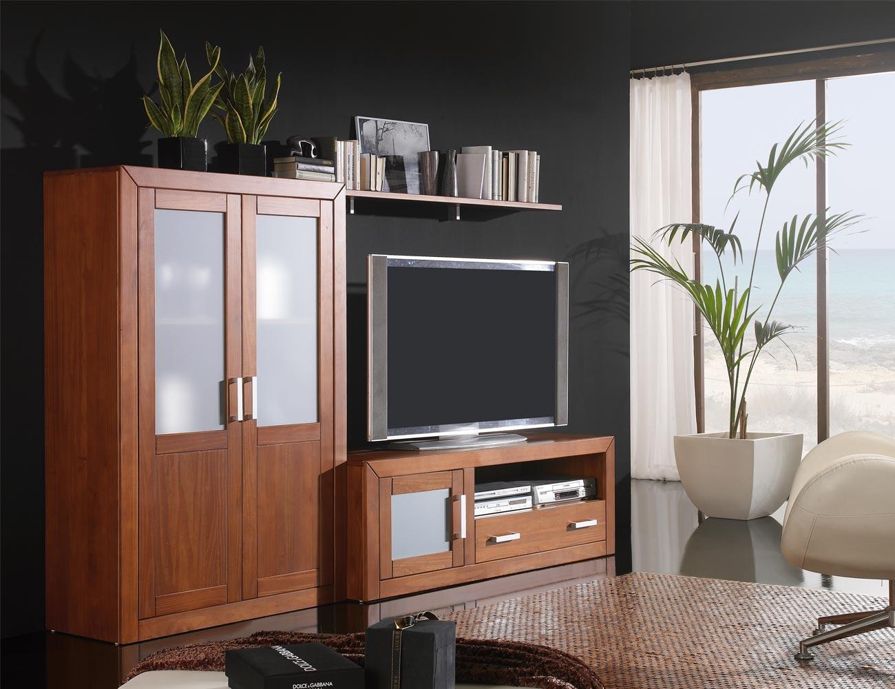Ambiente14 mueble salon comedor bodeguero tv  nogal