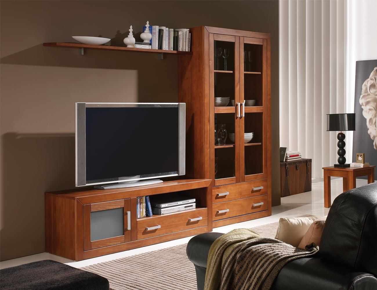 Ambiente15 mueble salon comedor vitrina tv  nogal
