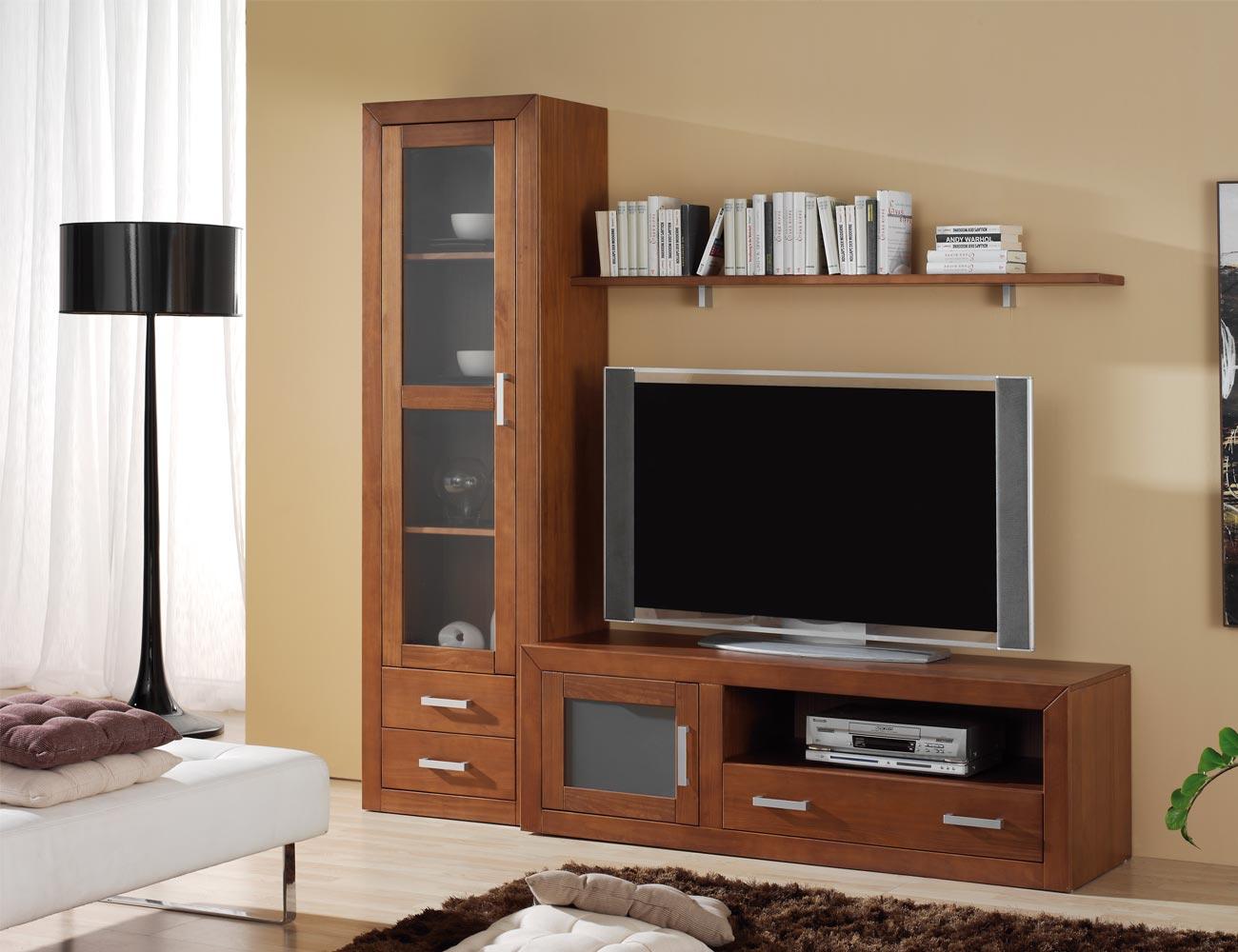 Ambiente18 mueble salon comedor vitrina tv  nogal