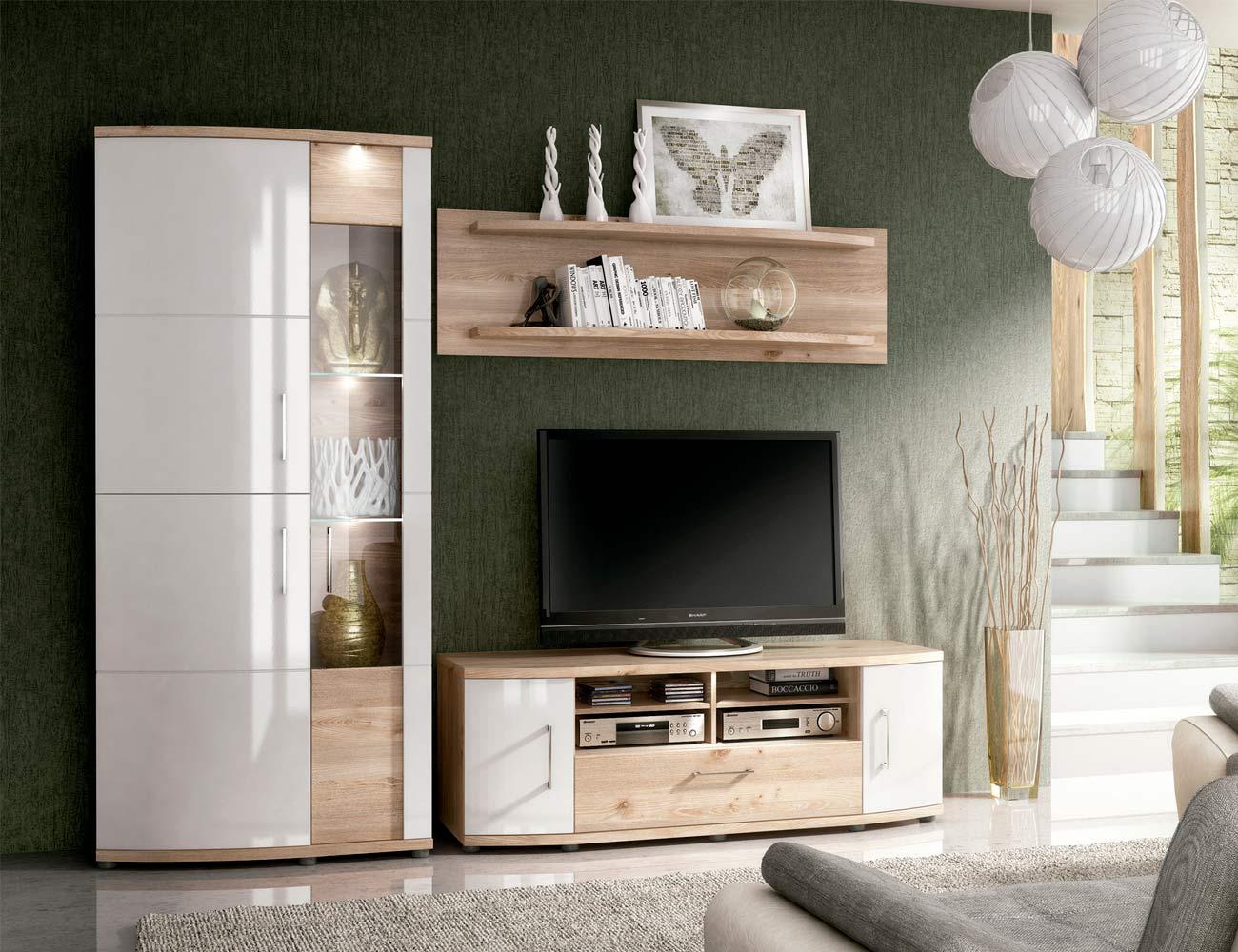 Ambiente2 mueble salon comedor vitrina bodeguero bajo tv nelson blanco