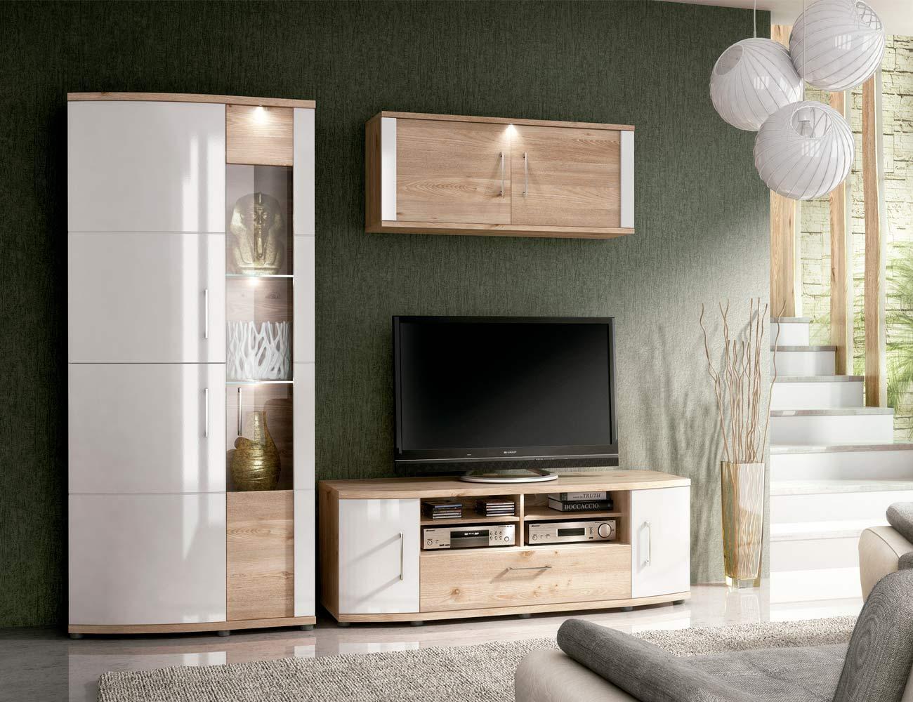 Ambiente3 mueble salon comedor vitrina bodeguero bajo tv alto 2 puertas nelson blanco