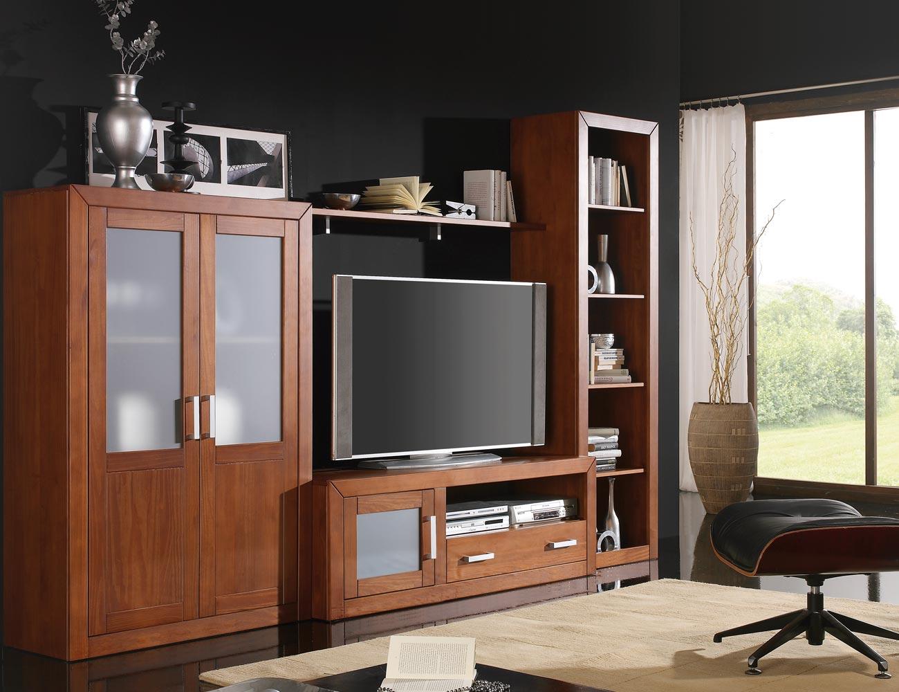 Ambiente5 mueble salon comedor estanteria bodeguero tv  nogal1