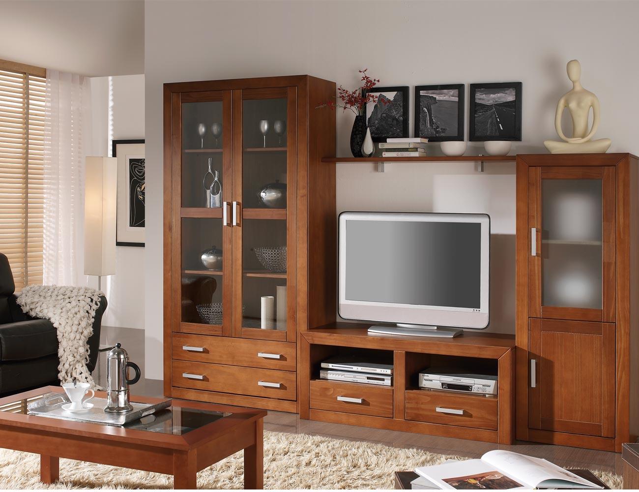Muebles de sal n comedor estilo colonial en madera con - Muebles de salon modulares de madera ...