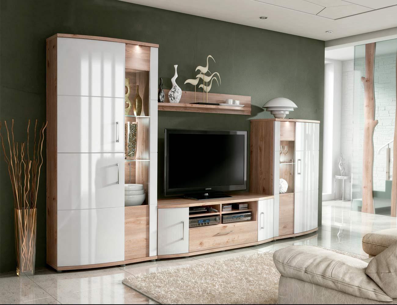 Mueble de sal n estilo moderno en madera dm con 2 vitrinas - Mueble bajo salon ...