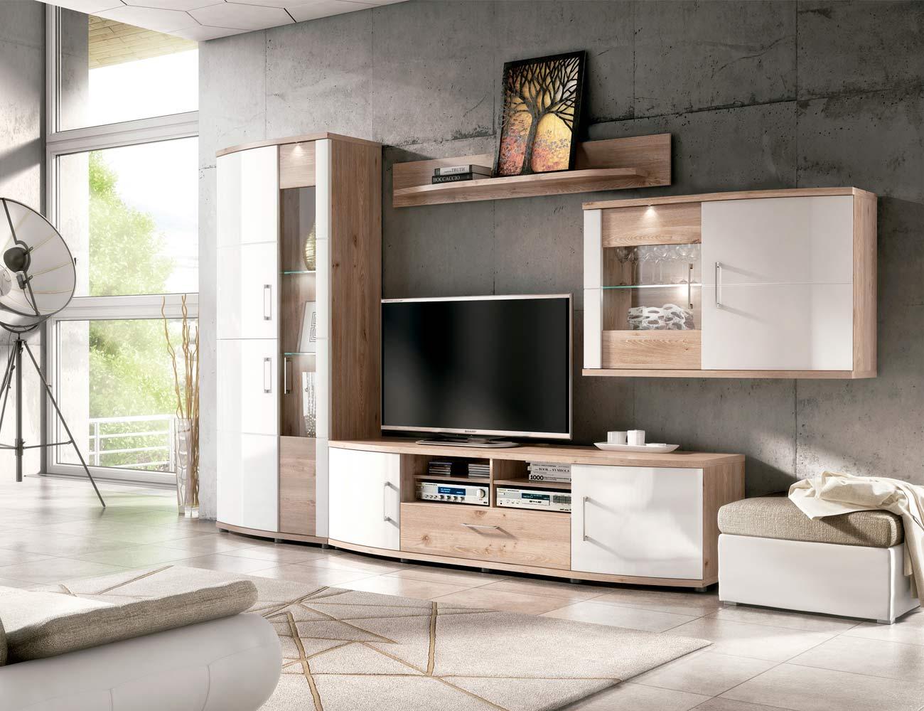 Ambiente8 mueble salon comedor vitrina bodeguero bajo tv alto vitrina  nelson blanco